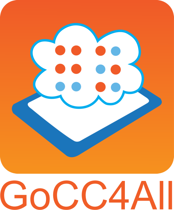 "GoCC4All logo: A tablet lays horizontally on an orange background. A cloud floats over the tablet. Inside the cloud, the word ""go"" is written in braille."